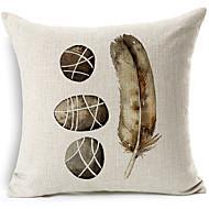 pavés gris et motif de plumes coton / lin taie d'oreiller décoratif