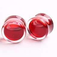 2014 nouvelle acrylique rouge style bouchons d'oreille liquides corps tunnel de chair de jauge de bijoux, un ensemble de deux 8mm