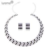 lureme vrouwen multi-layer kristallen sieraden set (kraag ketting en oorbellen)