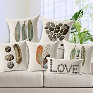 Cotton/Linen Pillow Cover , Nature Modern/Contemporary