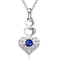 Heart Shape Silver Plated Necklace with Zircon Pendant(1Pc)