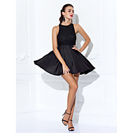 TS Couture® Cocktail Party / Prom Dress - Black Plus Sizes / Petite A-line Jewel Short/Mini Lace / Jersey