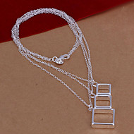 Special Three Squares Silver Plated Pendant Necklace(White)(1Pc)