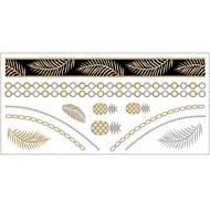 - Dövme Etiketleri - Temalı - Mücevher Serileri - Kadın/Girl/Yetişkin/Genç - Altın Rengi - Kağıt - #(1) -Adet #(20x10)