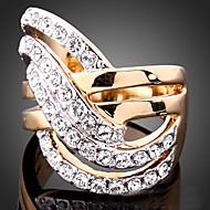 문자 반지 모조 큐빅 도금 골드 모조 다이아몬드 24K Plated Gold 합금 패션 스크린 컬러 보석류 파티 1PC