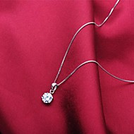 Ladies'/Men's/Couples'/Women's Silver Necklace Wedding/Party/Daily/Special Occasion/Outdoor Cubic Zirconia