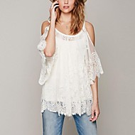 Women's Strap Lace Shirt , Lace/Cotton Blends Short Sleeve