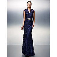 TS Couture® Prom / Formal Evening Dress - Dark Navy Plus Sizes / Petite Sheath/Column V-neck Floor-length Lace