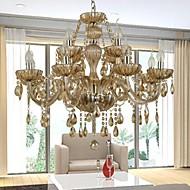 lustre de cristal de luxo modernas 2 camadas 12 luzes que vivem