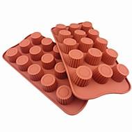 21.5 × 10.5 × 2 סנטימטר 15 חור תבניות שוקולד קרח ג'לי עוגת צורת צילינדר, סיליקון (8.5 × 4.3 × 0.8inch)