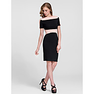 Cocktail Party Dress - Clover/Black/Ocean Blue Sheath/Column Jewel Knee-length Cotton