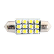 36mm 3W 150lm 6000K 12x3528 SMD fehér LED Autó Reading / License Plate / Ajtó lámpa (DC12V, 1db)