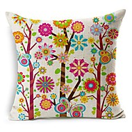 Colorful Flower Tree Cotton/Linen Decorative Pillow Cover