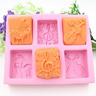 Piano Guitar Notes Shaped Fondant Cake Chocolate Silicone Mold Cake Decoration Tools,L13.7cm*W11.6cm*H2.8cm