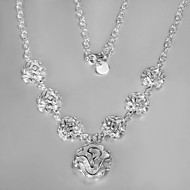 2016 New Fashion Rose Exaggeration Beauty Silver Necklace For Women&Lady