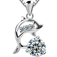 Ladies'/Women's Sterling Silver Necklace Anniversary/Wedding/Gift/Special Occasion/Outdoor Cubic Zirconia
