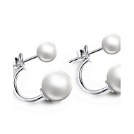Stud Earrings Women's Sterling Silver Earring Pearl