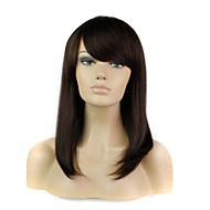100% peluca de pelo largo recto pelo humano con flequillo completo