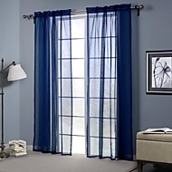 One Panel Modern Solid Blue Living Room Polyester Sheer Curtains Shades