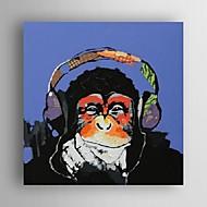 peinture à l'huile moderne la musique de gorilles abstraite main toile avec cadre étiré peint