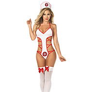 Seductive Girl White and Red Polyester Nurse Uniform
