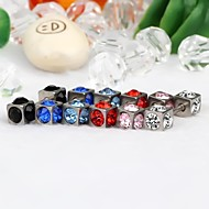 1Pair 4mm Square-Shaped Stainless Steel Earrings With Rhinestone  (Random Colors)