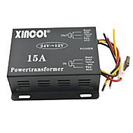 xincol® fordons bil dc 24v till 12v 15a strömförsörjning transformator omvandlare-svart