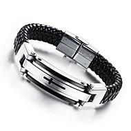 Браслеты Кожаные браслеты Кожа Титановая сталь Позолота Крестообразной формы Хип-хоп Свадьба Повседневные Спорт Новогодние подарки