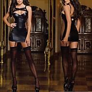 Black Latex Catsuit Faux Leather Sexy Uniform