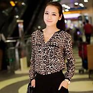 Leopard Långärmad Blus Kvinnors Bommulsblandning