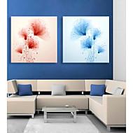 E-HOME® Stretched LED Canvas Print Art Flower Flash Effect LED Flashing Optical Fiber Print Set of 2