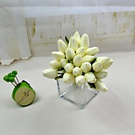 """Decorative Flowers White Red 12 heads Real Touch Tulip Bundle Stem 10.23"""" for Home Decoration"""