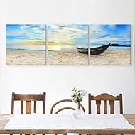 e-home® lona esticada arte o navio atracou na costa set decoração pintura de 3