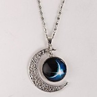 Women's Galaxy Star Moon Time Gem Necklace