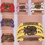 eruner®leather Armbänder mehrschichtigen Legierung vintage Eule bezaubert handgemachtes Armband
