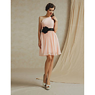 Knee-length Chiffon Bridesmaid Dress - White / Pearl Pink / Sky Blue / Champagne / Lilac A-line One Shoulder