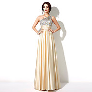 Formal Evening Dress - Gold Plus Sizes / Petite A-line One Shoulder Floor-length