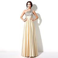 Formal Evening Dress - Gold Plus Sizes / Petite A-line One Shoulder Floor-length