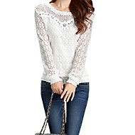 Women's Spring / Summer / Fall Blouse,Solid Round Neck Long Sleeve White Polyester Thin