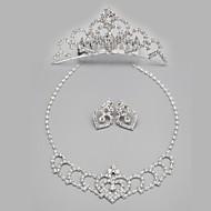 クリアクリスタル結婚式の花嫁のネックレスとイヤリングの宝石類セットを持つ美しい合金