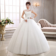 Ball Gown Wedding Dress - White Floor-length High Neck Tulle