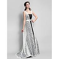Sweep / Brush Train Lace / Satin Bridesmaid Dress A-line Straps with Crystal Detailing / Sash / Ribbon