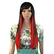 Long Straight Party Wig Black Red Mixcolor Side Bang