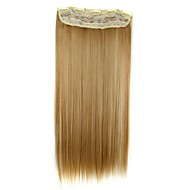 24 polegadas 120g longo clipe reta sintético em extensões de cabelo com 5 clipes pedaço de cabelo
