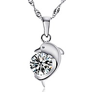 Dolphin Ladies'/Women's Quartz/Sterling Silver Necklace With Cubic Zirconia