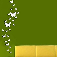 Mirror Wall Stickers Wall Decals, DIY 24PCS Butterfly Mirror Acrylic Wall Stickers