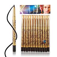 M0127 12Pcs Leopard Print Waterproof Black Eyeliner Pencil Kit