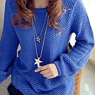 The new double star sweater chain chain hollow out set auger stars Ladies' Stainless Steel Necklace With Rhinestone