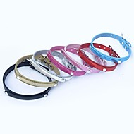 Cat / Dog Collar Adjustable/Retractable Red / Black / Blue / Pink / Gold / Silver / Rose PU Leather