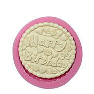 ronde gelukkige verjaardag fondant siliconen mal taart decoreren schimmel chocolade mal siliconen taart ontwerp cake gereedschappen